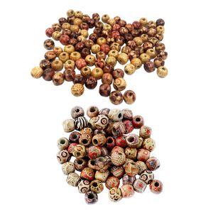 Holzperlen (200 Stü)   Rund Bedruckte Perlen Mit Großem Loch 10 Mm Bis 12 Mm Für Schmuckherstellung, Kunsthandwerk, Halskette, Armband, Haarspange U
