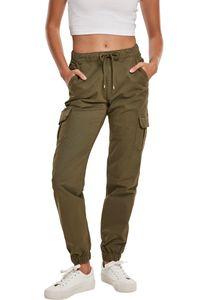 Urban Classics TB3626  Ladies High Waist Cargo Jogging Pants, Größe:S, Farbe:summerolive