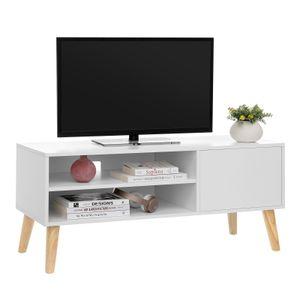 VASAGLE Lowboard 110 x 40 x 49,5 cm im skandinavischen Stil, TV-Regal, TV Schrank Fernsehtisch, Fernsehschrank, weiß LTV09WT