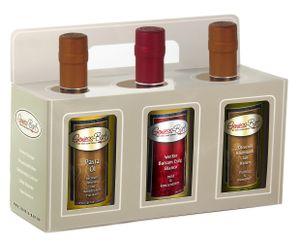 Essig & Öl Geschenk Box 3x0,35L in  Pastaöl / Balsamessig Bianco / Basilikum Olivenöl