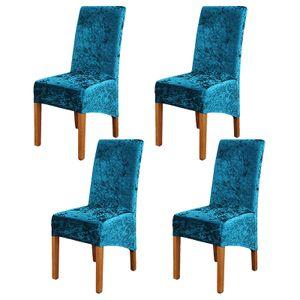 Stuhlbezüge, 4er-Satz, Super Soft Suede Stuhlbezüge Abnehmbarer Samt-Stuhlschutz für Party, Pfauenblau XL
