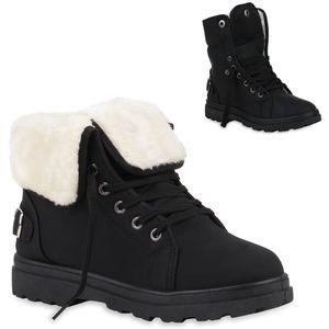 Mytrendshoe Damen Stiefeletten Winter Boots Warm Gefütterte Outdoor Schuhe 77814, Farbe: Schwarz, Größe: 37