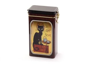 "Dose ""Le Chat Noir"" 500g eckig,mit Bügelaromaverschluss, geprägt 21,3 x 11,5 x 7,4 cm"