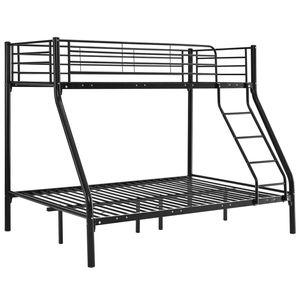 Juskys Hochbett Jonas – Etagenbett 90 / 140 x 190 cm mit Leiter & Rausfallschutz für 3 Personen bis max. 150 / 300 kg – Stockbett aus Metall schwarz