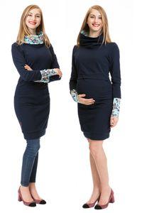 GFWL Umstandskleid Stillkleid #3in1 Schwangerschaftskleid Stillen GF2417XF in marine mit blau-altrosanenen Blumen auf hellblau-türkisen Bündchen, Größe Damen EU:38 Medium
