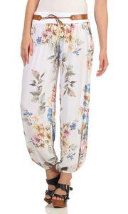 324 MIssisshop Damen Hose Haremshose Ballonhose Pluderhose Pumphose Aladinhose Sommerhose Blumen Print floral baggy pants Weiß