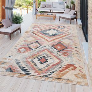In-& Outdoor Teppich Terrasse Vintage Küchenteppich Ethno Design Rot Beige Orange, Größe:120x160 cm