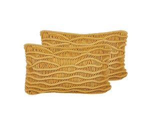 Dekokissen 2er Set Gelb Baumwolle 30 x 50 cm Strickmuster Boho-Stil Wohnzimmer Salon Schlafzimmer