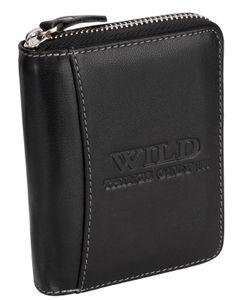 RFID Leder Portmonne Geldbörse Herren  mit Reißverschluss Hochformat Schwarz