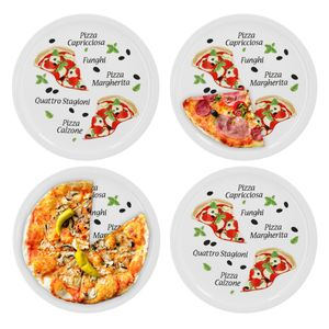 4er Pizzateller Margherita groß 30,5cm Porzellan Teller Pizzaplatte mit Motiv - für Pizza / Pasta