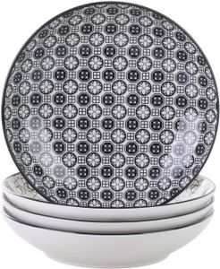 Vancasso Haruka Suppenteller aus Porzellan, 4-teilig Tiefteller, Ø 21,5 cm Teller Set, 700ml