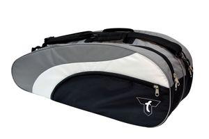 Talbot Torro Racketbag, Schlägertasche für Badminton, Squash, Tennis, passend für 6-12 Rackets, schwarz-silber