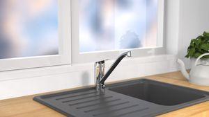 Eyckhaus LUCA Vorfenster Küchenarmatur, abnehmbarer Wasserhahn für die Küche, 360° Schwenkbereich, Schläuche klappbar, Mischbatterie ausziehbar, Chrom