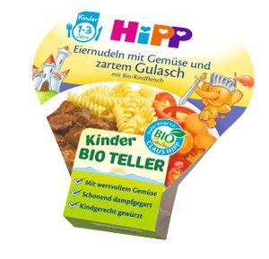 HiPP Kinderteller ab 1 Jahr, Eiernudeln mit Gemüse und zartem Gulasch, DE-ÖKO-037 - VE 250g