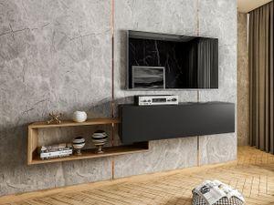 Mirjan24 TV-Lowboard Vega, Stilvoll TV-Schrank vom Hersteller, RTV-Tisch, Hängeschrank (Farbe: Schwarz / Wotan)