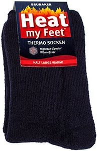 Brubaker 2 Paar Heat my Feet Uni Thermo Socken Navy Größe 35-38