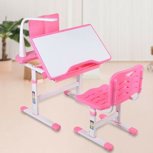 Kinderschreibtisch Schreibtisch mit Stuhl & LED Lampe Verstellbar Schüler Zeichentisch Set Rosa
