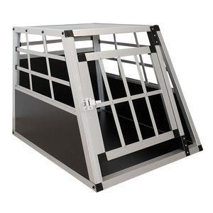 Juskys Alu Hundetransportbox M - 69×54×51 cm – Auto Hundebox robust & pflegeleicht, Gittertür verschließbar, Aluminium Transportbox für Hunde