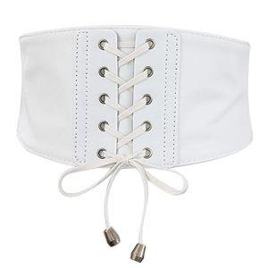 1 Stück breiter Ledergürtel Farbe Weiß
