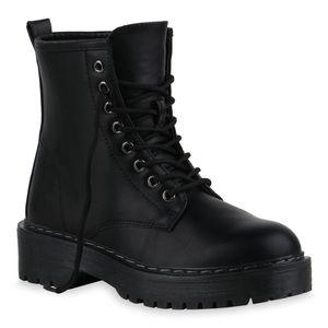 Mytrendshoe Damen Stiefeletten Worker Boots Schnürer Profil-Sohle Schuhe 836074, Farbe: Schwarz, Größe: 40