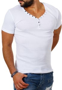 Young & Rich Herren Uni feinripp Basic T-Shirt mit Knopfleiste & tiefem V-Ausschnitt deep V-Neck slim fit einfarbig 1873, Grösse:XXL, Farbe:Weiß