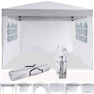 Faltpavillon 3 x 3m Pop Up Pavillon Faltbar Wasserdicht Gartenpavillon, UV-Schutz 50+ Partyzelt Pavillon Festzelt mit 4 Seiten für Garten/Party/Hochzeit/Picknick/Markt- Tragetasche inklusive,Weiß