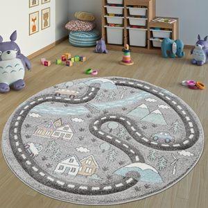 Kinderteppich Kinderzimmer Teppich Rund Kurzflor Straßen Design In Pastell Grau, Grösse:Ø 160 cm Rund