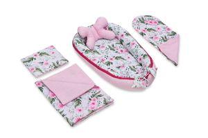 JUKKI 5 Elemente Set - Baby Nestchen, Kissen, Decke, Matratze Garden Pink
