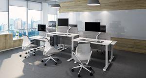 Home Office Schreibtisch Ergonomisch Jet-Line Unterteil für höhenverstellbaren Tisch mit 2 Motoren Sitz Steh Büroschreibtisch Büro weiss