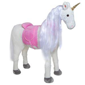 """Pink Papaya Riesenpferd """"Lissy"""" 105 cm Einhorn bis 100 kg belastbar Super Plüsch Reitpferd mit Sound und langer Mähne"""