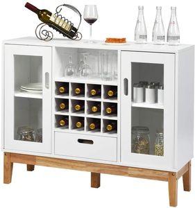 COSTWAY Weinschrank mit Weinregal, Sideboard aus Holz, Beistellschrank mit 12 Weinfächern, Küchenschrank mit Regalen & Türen & Schublade, Sideboard für Küche Esszimmer Wohnzimmer