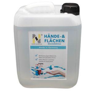 NURFUERDICH 5 Liter WHO Rezept Nr. 6 Hände und Flächen  Desinfektionsmittel 70% Alkohol Gehalt