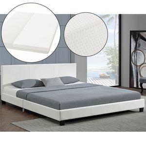 Juskys Polsterbett Bolonia 140 x 200 cm weiß Einzelbett mit Kaltschaummatratze