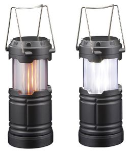 LED Laterne mit realistischem Flammenspiel 2 in1 mit Flammeneffekt Campinglampe