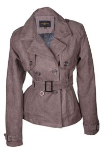 Damen Jacke Übergangsjacke WildKunstleder Trenchcoat Farbe:Grau, Größe:M (Ital. Etikett 42)