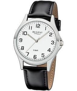 Regent Herren Uhr Lederarmband 1112422 Analog Leder Armbanduhr schwarz UR1112422