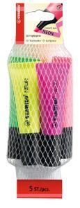 STABILO Textmarker NEON im 5er Netz pink grün orange pink magenta