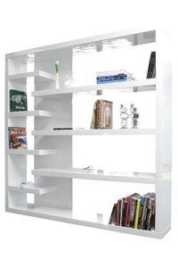 SalesFever Regal Raumteiler 200 cm| Hochglanz lackiert | MDF-Holz | B 200 x T 35 x H 200 cm | weiß