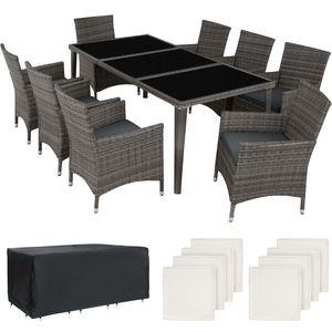 tectake Aluminium Rattan Sitzgruppe Monaco 8+1 mit Schutzhülle - grau