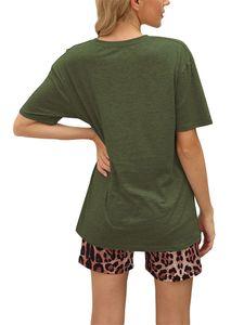 Sexydance Frauen Leopardenmuster Schlafanzüge Zweiteiliger Anzug Pyjamas Set Homewear,Farbe:Grün,Größe:M