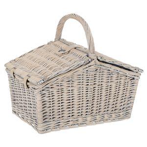 Picknickkorb Weide + Zubehör 23 tlg. für 4 Personen - Dunkelblau Weiß Beige