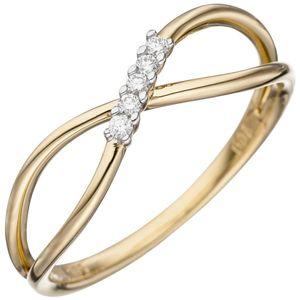 JOBO Damen Ring 56mm 585 Gold Gelbgold 5 Diamanten Brillanten Goldring Diamantring