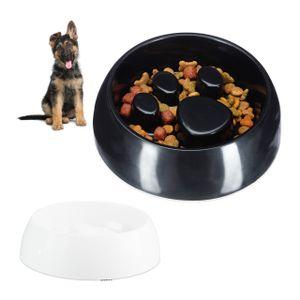 relaxdays 2 x Anti Schling Napf schwarz   weiß Fressnapf Hundenapf Futte Langsames Fressen