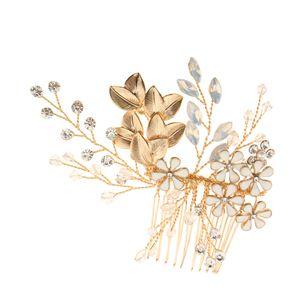Braut Haarkamm Kristall Strass Hochzeit Haarschmuck Gold