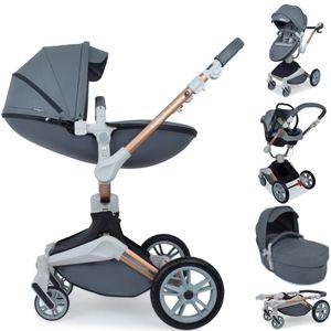 Daliya ® 3in1 360° Turniyo Kinderwagen mit Sportsitz, Babywanne & Babyschale Dunkelgrau