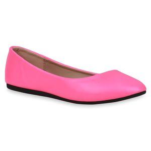 Mytrendshoe Damen Klassische Ballerinas Slipper Freizeitschuhe 832916, Farbe: Neon Pink, Größe: 39