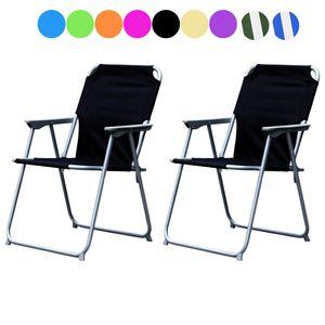 2'er Set Campingstuhl Stoff Oxfort Metall verschiedene Farben, Farben:Schwarz
