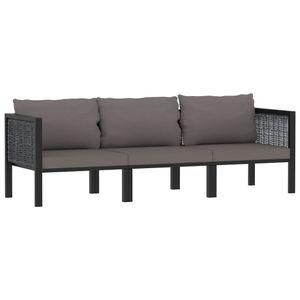 vidaXL 3-Sitzer-Sofa mit Auflage Anthrazit Poly Rattan