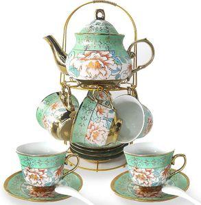 Europäisch Keramik Kaffeeservice 20-teilig - grün