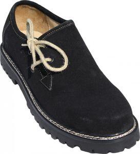 Trachtenschuhe Haferlschuhe aus Leder Oktoberfest Schuhe Juteschnüre Schwarz, Schuhgröße:41